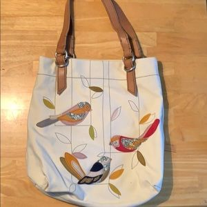 Fossil canvas bag with bird details